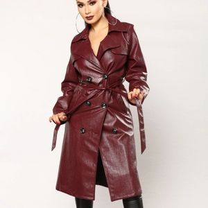Burgundy Faux Leather Trench Coat (M)
